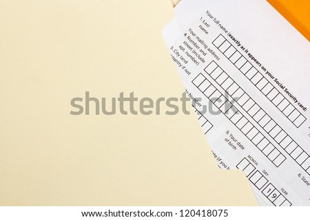 Directly above photograph of an application form. - stock photo