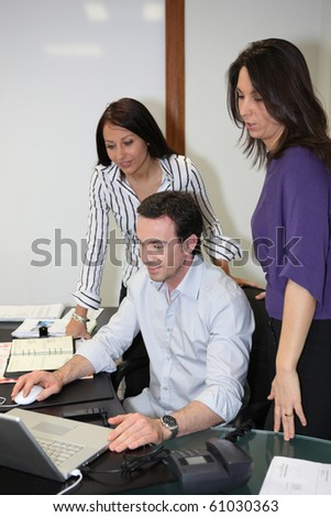 Director and assistants in office