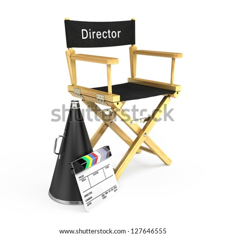 DIrector chair, clapper board and megaphone - stock photo