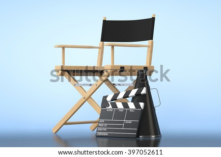 Director Chair, Movie Clapper and Megaphone on a blue background