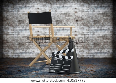 Director Chair, Movie Clapper and Megaphone on a grunge background. 3d Rendering - stock photo
