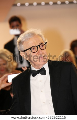 Director Woody Allen  depart the Premiere of 'Irrational Man' during the 68th annual Cannes Film Festival on May 15, 2015 in Cannes, France. - stock photo