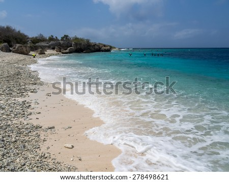 Directors Beach and bay Curacao ( Dutch Antilles)  an island in the Caribbean Ocean  - stock photo