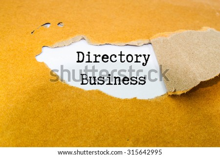 Directory business text on brown envelope