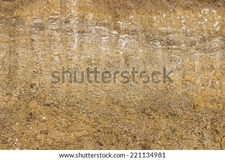 dirt background after working excavator, dirt cross section - stock photo