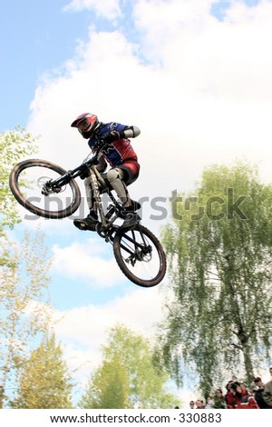 Dirt jumping at a mountain bike track