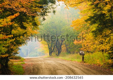 Dirt road and mailbox during fall foliage, Stowe Vermont, USA - stock photo