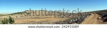 Dirt road and mountain near Amasa, Israel                                 - stock photo