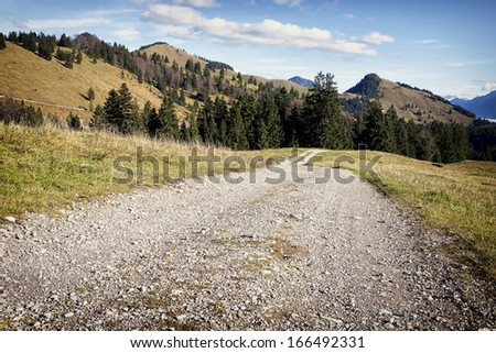 dirt road at the european alps - stock photo
