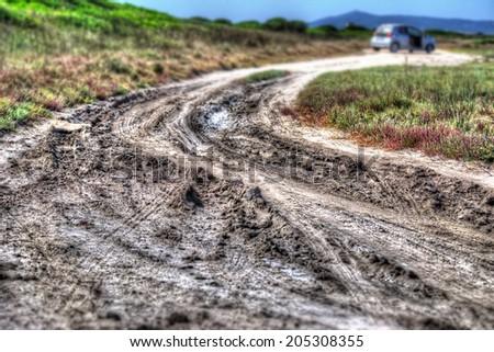 dirt road in Sardinia, Italy - stock photo