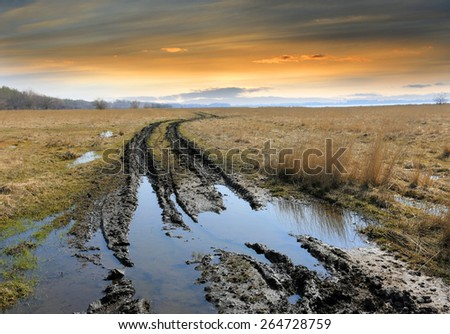 dirt road in steppe after rain - stock photo