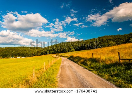 Dirt road in the Shenandoah Valley, Virginia. - stock photo