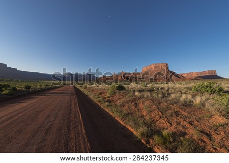 Dirt Road leading to the Mountains Utah Landscapes at Sunrise