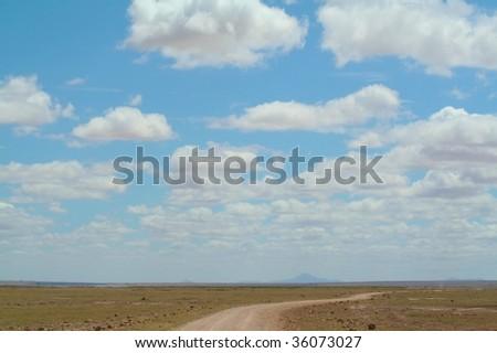Dirt road stretching to horizon - stock photo