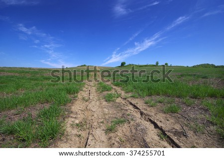 Dirt road through the field.