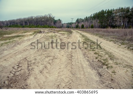 dirt road to the forest through the field