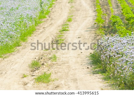 dirt road to the hill - stock photo