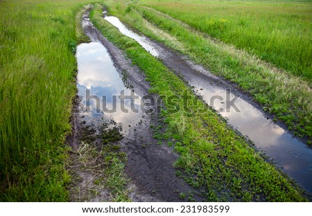 Dirt road with puddles in the green field. - stock photo
