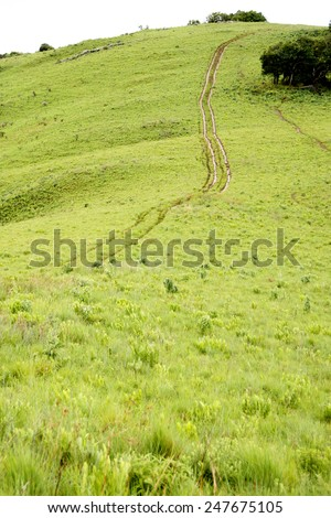 Dirt Track on Steep Hill, Traveling Off-Road, Africa - stock photo