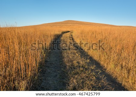 Dirt track trail in the Tallgrass Prairie National Preserve near Strong City Kansas in the evening.