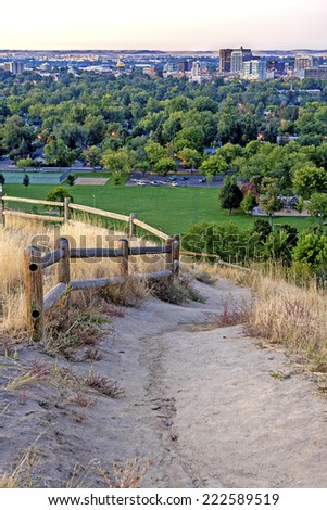 Dirt trail and city of Boise morning - stock photo