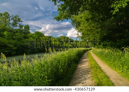 Dirt trail on the tow path along the historic I & M Canal near Split Rock on a Spring afternoon in LaSalle, Illinois, U.S.A..
