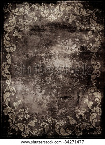 dirty abstract background with floral decorations - stock photo