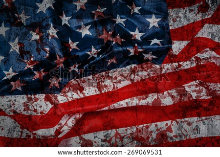 Dirty american flag with blood splatters - stock photo