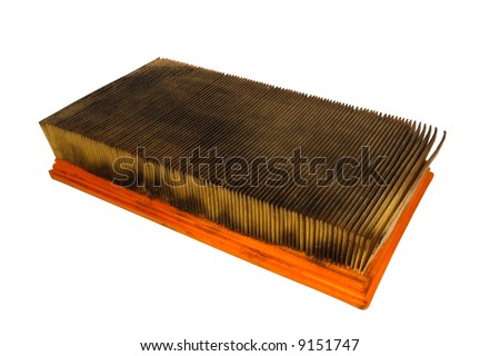 Dirty and oily auto air filter isolated on white