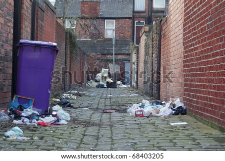 Dirty back street alley - stock photo