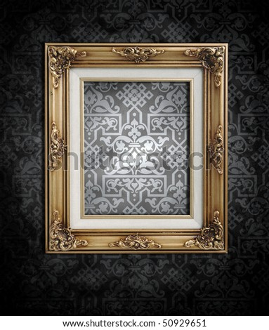 dirty black and white wallpaper and an empty frame - stock photo