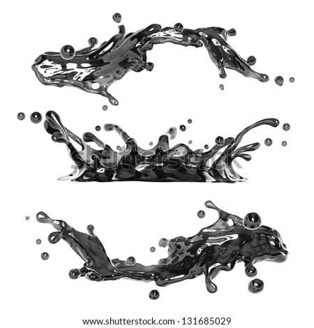 dirty black liquid ink splash - stock photo