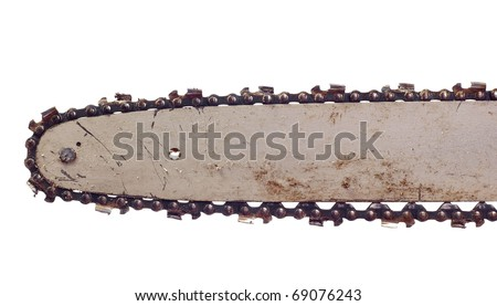 Dirty blade of a chainsaw, isolated against background