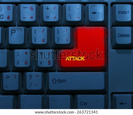 Dirty blue keyboard with red notice Attack. Terrorism online concept. - stock photo