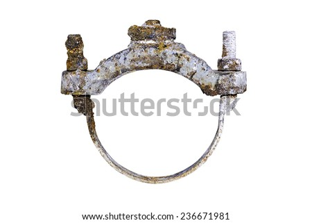 dirty brass and cast iron saddle clamp for waterwork - stock photo