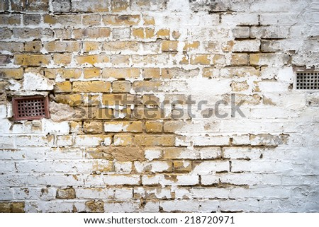 dirty brick wall, grungy red, white & grey texture background - stock photo