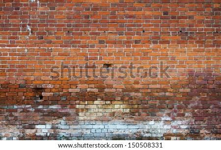 dirty brick wall, grungy texture - stock photo
