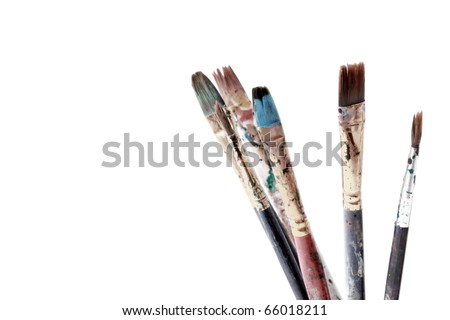 Dirty brushes - stock photo