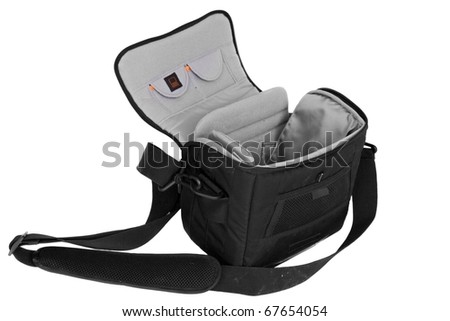 Dirty camera bag: used camera bag isolated on a white background - stock photo