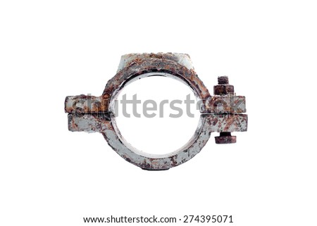 dirty cast iron saddle clamp for waterwork, 3 in diameter, use for Galvanizes Steel Pipe - stock photo