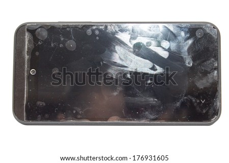 dirty cell phone - stock photo