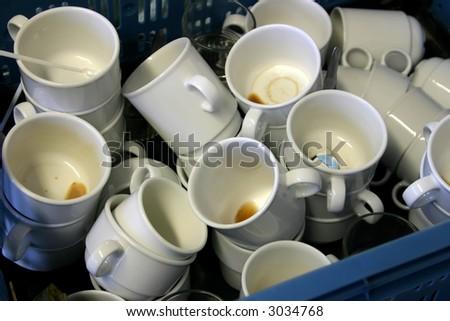Dirty coffee and tea cups. - stock photo