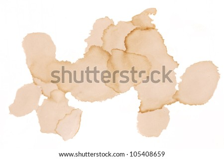 Dirty coffee spots isolated on white background - stock photo