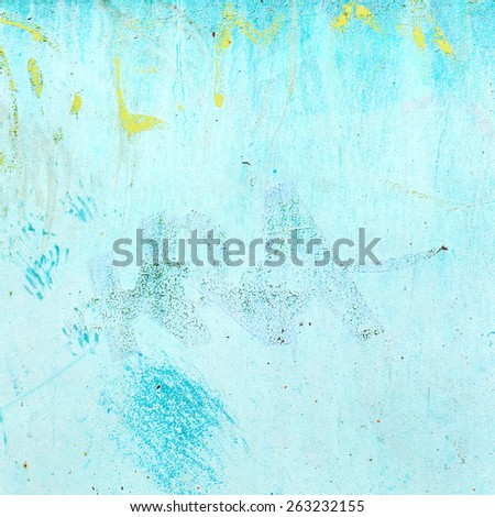 Dirty concrete wall with blue streaks of water, cracks and scratches. Grungy concrete surface. Great background or texture for your project. Sepia - stock photo
