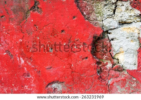 Dirty concrete wall with red stains water stains, cracks and scratches. Grungy concrete surface. Great background or texture for your project. - stock photo