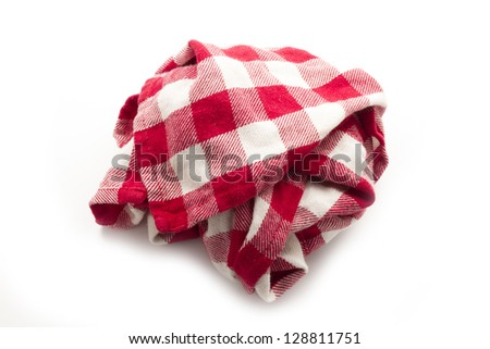 dirty crumpled pattern cloth isolated on white background - stock photo