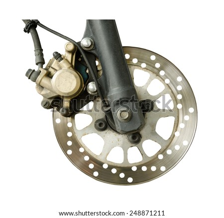 dirty disc brake on white background - stock photo