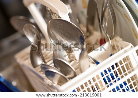 dirty dishes and dishwasher detergent / dishwasher - stock photo