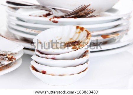 Dirty dishes close up - stock photo