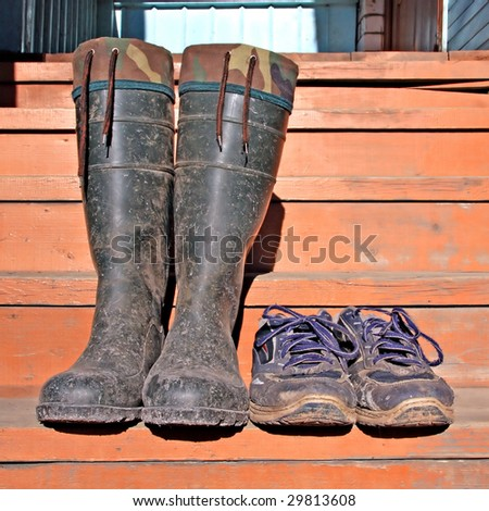 dirty footwear - stock photo